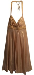 Badgley Mischka Halter Metallic Dress