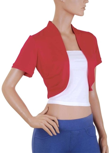 Short Sleeve Bolero Shrug W/ Tube Red White Sweater Short Sleeve Bolero Shrug W/ Tube Red White Sweater Image 1