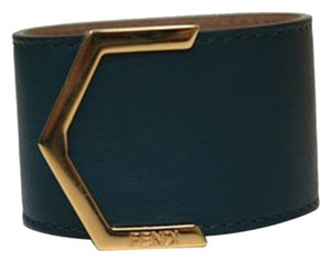 Fendi Fendi Leather Dark Teal Cuff Bracelet 240015