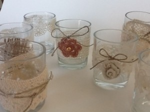 Ivory Tan Cinnamon 30 Rustic Romantic Lace Glass Holders Votive/Candle