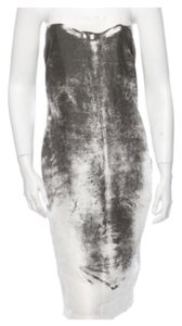 Helmut Lang Abstact Cocktail Strapless Silk Dress