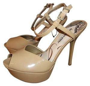 Sam & Libby Patent Leather Peep Toe Stiletto Heels Nude Platforms