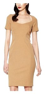 Zac Posen Short Sleeved Mid-length Brown Light Brown Cocktail Work / Office In Apparel Brown Tan Beige New Dress