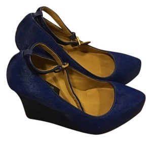 Ann Taylor Wedge Calf Hair Cobalt Blue Wedges
