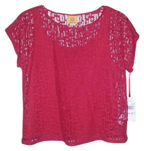 Ruby Rd. Short Sleeve Lace Red Summer Top