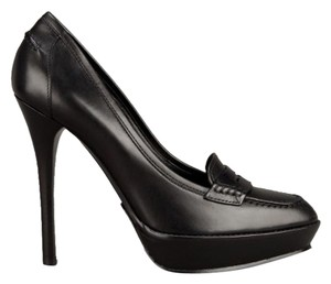 Ralph Lauren Viona Leather Platform Rl Collection Black Pumps