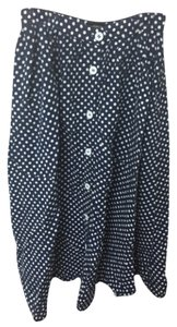 American Apparel Maxi Skirt Navy white polka dot