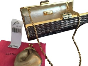 Judith Leiber Sequin Gold Chain Bronze Clutch