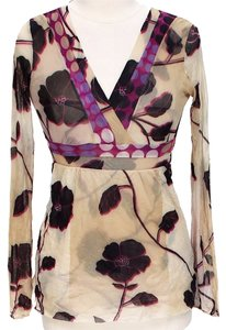 Sweet Pea by Stacy Frati Longsleeve Sheer Floral Top