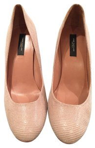 Ann Taylor Leather Lizard Skin Look Beige Pumps