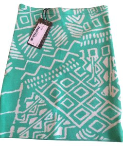 Torn by Ronny Kobo White Print Loose Robby Tribal Design Bandage Fitted New Mini Skirt Turquoise