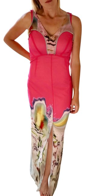 Item - Pink New Floor-length Silk with Front Slit Long Casual Maxi Dress Size 6 (S)