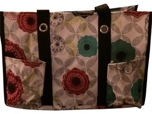 Tote in Black White Red Teal