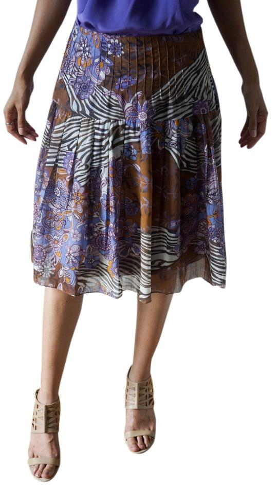 Eci New York Violet And Brown Floral Pleased Cotton Silk Low Rise