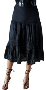 Zara Low Rise Floral Silk Embroidered Skirt black
