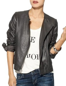 Vince Snake Embossed Leather Leather Jacket