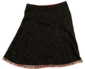 Burning Torch Wool Pinstripe Skirt