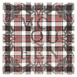 Alexander McQueen Alexander Mcqueen Red/Black Plaid Modal And Silk Pashmina New With Tags
