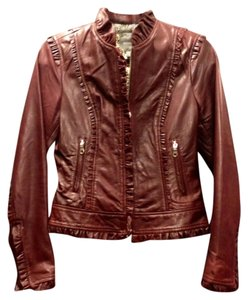 Kenna-T Ruffle Detail Burgundy Leather Jacket