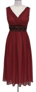 Red Goddess Beaded Waist Cocktail Formal Dress