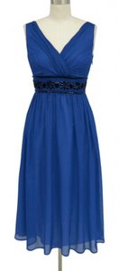 Blue Chiffon Goddess Beaded Waist Cocktail Formal Bridesmaid/Mob Dress Size 16 (XL, Plus 0x)