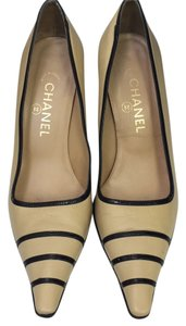 Chanel Tan and Black Pumps