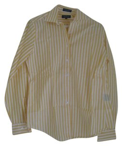 Faonnable Button Down Shirt Yellow and white