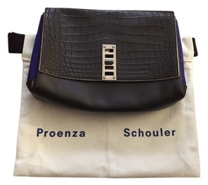 Proenza Schouler Exotic Crocodile Proenza Blue Grey Black Clutch