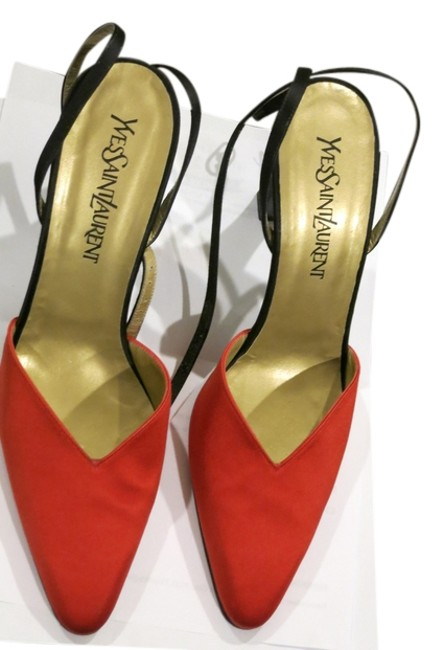 Item - Red Leather and Satin Elegant Evening Wear Great For New Years Unique Brilliant Formal Shoes Size US 9 Regular (M, B)