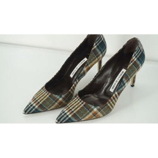 Manolo Blahnik Plaid Pumps