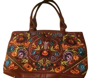 Isabella Fiore Leather Embroidered Bohemian Boho Hobo Bag