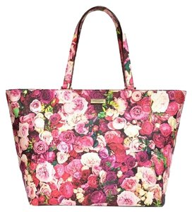 Kate Spade Nwt New Grant Street Logo Classic Roses Colorful Floral Flowers Jules Harmony Large Tote Zip Handbag Carryall Multicolor Travel Bag