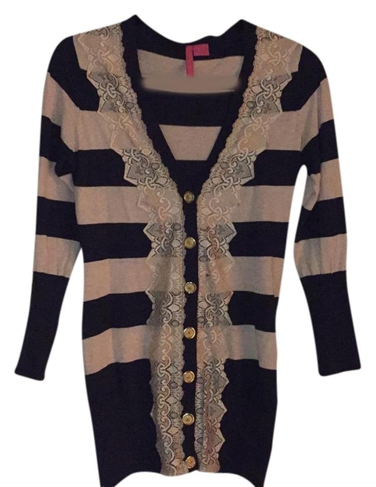 Charlotte Russe Navy Blue Cream and Gold Buttons Cardigan Size 8 (M) 66%  off retail