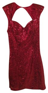 Guess Holiday Sparkle Sequin Christmas Fitted Bodycon Sweetheart Cap Sleeve Cutout New Years Luxury Dress