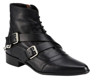 Tabitha Simmons Ankle Strappy Leather Rocker Calfskin Black Boots