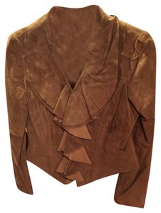 Boston Proper Suede Cognac Leather Jacket