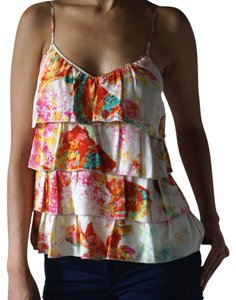 Parker Print Silk Sleeve Layers Top white with floral pattern