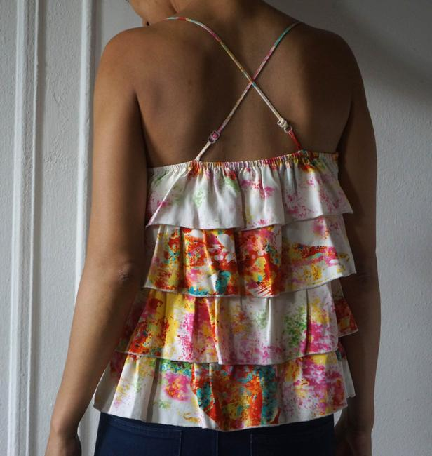 Parker Flower Print Silk Without Sleeve Layers Top white with floral pattern