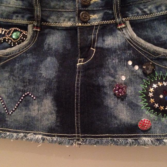 bebe Denim Embellished Beaded Mini Skirt Blue