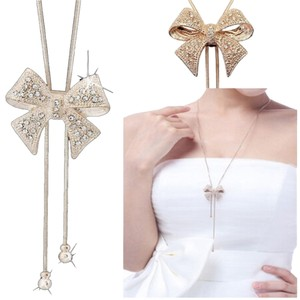 New Gold Tone Bow Necklace Open Bottom Dangle Chain J1636