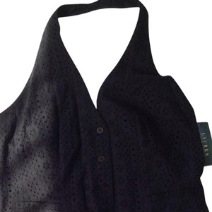 Ralph Lauren Eyelet Cotton Fully Lined Button Front Black Halter Top