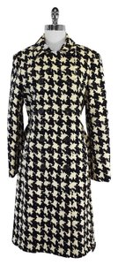 Moschino Black Cream Houndstooth Coat