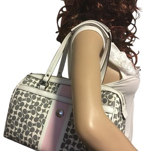 Coach Satchel in Gray, white