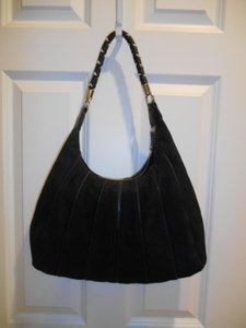 Avon Suede Look Leather Look Faux Suede Faux Leather Details Zip Closure Funky Fun Earthy Boho Tote Handbag Hobo Bag