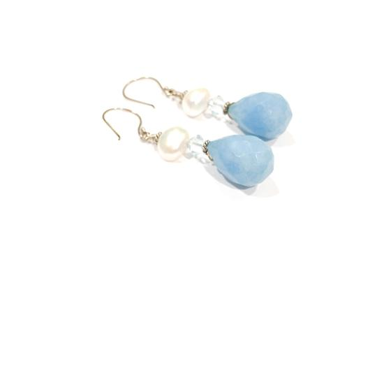 Gemme Del Mondo *Brand New* Sky Blue Faceted Jade Briolette Earrings