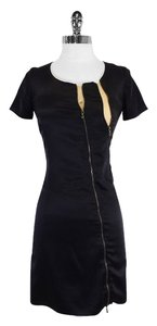 WAYNE short dress Black Nude Silk Short Sleeve Zip on Tradesy