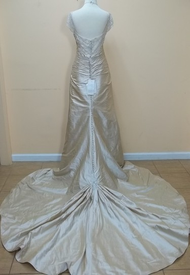 Mon Cheri Champagne Taffeta 28233s Formal Wedding Dress Size 12 (L)