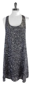 Alice + Olivia Grey Sequin Silk Shift Dress