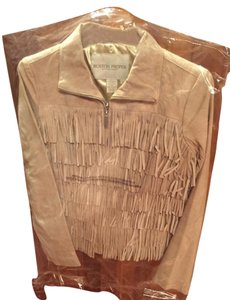 Boston Proper Suede Fringe Zip Up Embroidered Light Tan Leather Jacket