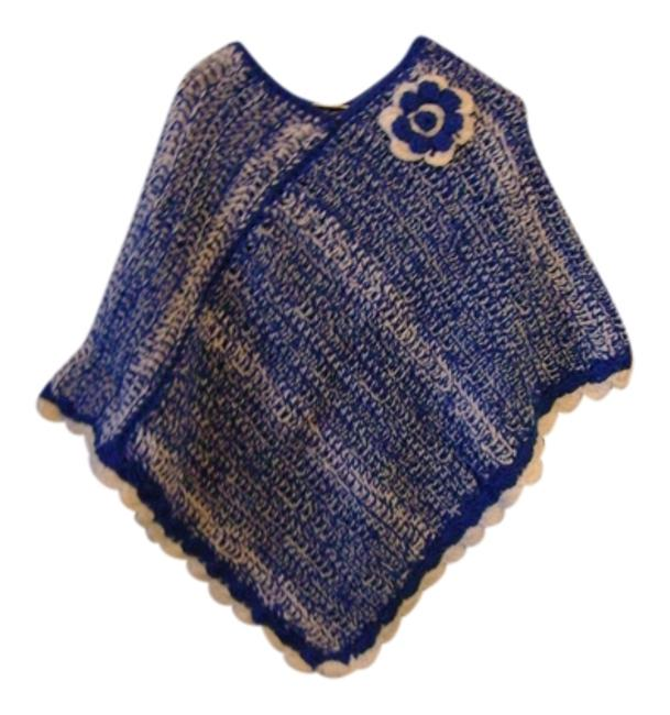 Preload https://item1.tradesy.com/images/blue-and-white-new-one-of-a-kind-ponchocape-size-os-one-size-9639235-0-1.jpg?width=400&height=650